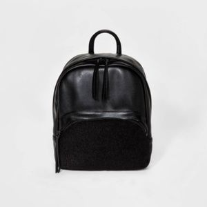 Women's Faux Leather and Faux Fur Mini Backpack